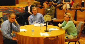 The final panel. From left to right: Stephen Prothero, Leigh Schmidt, and Pamela Klassen. Photo courtesy of Eric Hamilton.